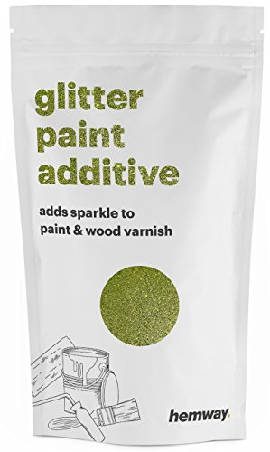 Hemway (Lime Green) Glitter Paint Additive Crystals 100g / 3.5oz for Acrylic Latex Emulsion Paint - Interior Exterior Wall, Ceiling, Wood, Varnish, Dead flat, Matte, Gloss, Satin, Silk (Lime Bronze Wall)