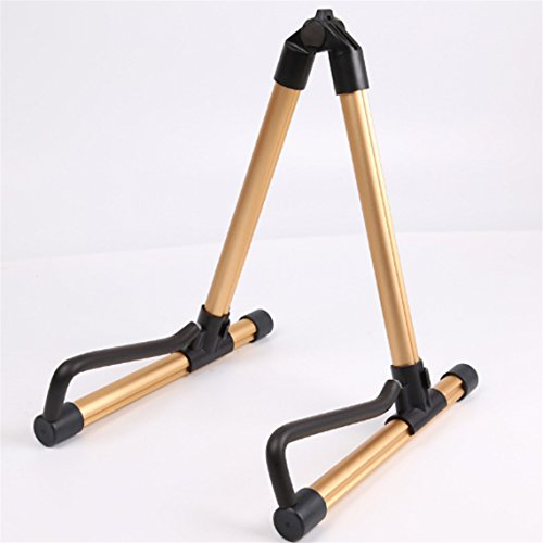 Rurah Guitar Stand Portable Universal Folding Guitar Stand for Acoustic Electric Classical Bass Guitar Travel Guitar Stand,Golden by Rurah