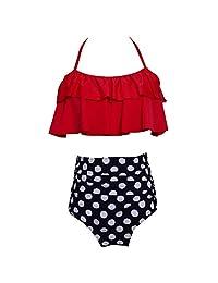 Womens Ruffles Strap High-Waisted Bikinis Bottom Cute Flounced Top Swimsuits