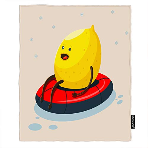 Moslion Lemon Blanket Cute Cartoon Fruit Lemon on Winter Sledding with Snowflake Throw Blanket Flannel Home Decorative Soft Cozy Blankets 40x50 Inch for Baby Kids Pet Yellow