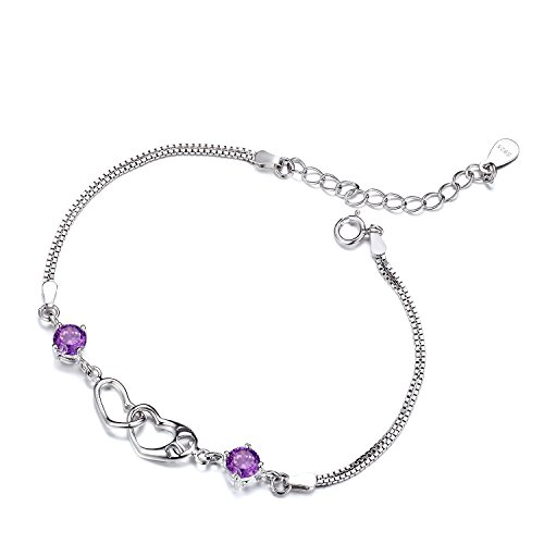 Heart Chain Amethyst (GTB2040 S925 Silver CZ Stones Simulated Amethyst Heart Chain Bracelet Rhodium Plated)
