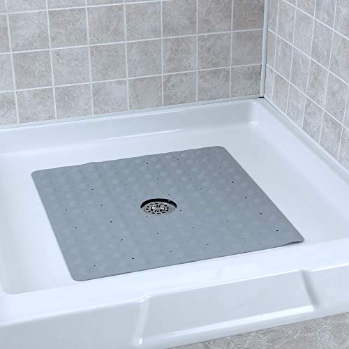 - SlipX Solutions Gray Square Rubber Safety Shower Mat with Microban Provides Reliable Slip-Resistance in Shower Stalls (Mildew Resistant, 140 Suction Cups, Great Drainage)