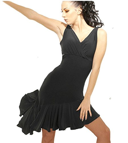 Motony Fashion Sleeveless V-Neck Latin Dance Dress Rumba Skirt One Piece Stage Costume Black XS ()