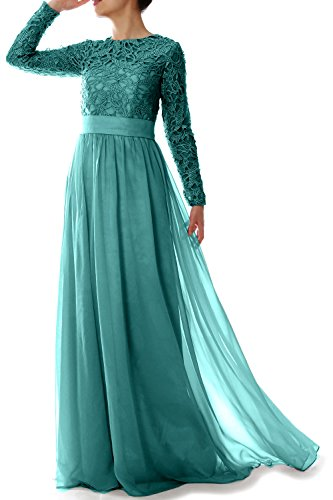 Evening Sleeve Party Long Elegant MACloth Turquoise Gown of Dress Lace Bride Mother Formal 4HqzwEq