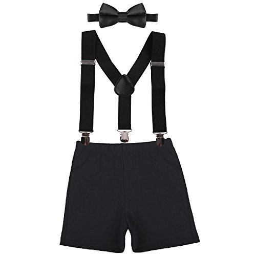 Kids Baby Boys First Birthday Cake Smash Outfit Adjustable Y Back Elastic Clip Suspenders Bowtie Set Party Pre-Tied Bloomers Black -