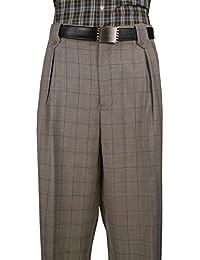 Mens Dress Wide Leg Pants, Wool Col. Grey Plaid Art.5551014