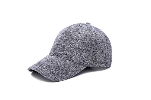 JOOWEN Unisex Knitted Textured Baseball Cap Soft Adjustable Solid Hat (Grey) ()