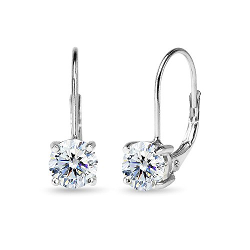 Sterling Silver Clear Round-cut Leverback Earrings Made with Swarovski Zirconia ()