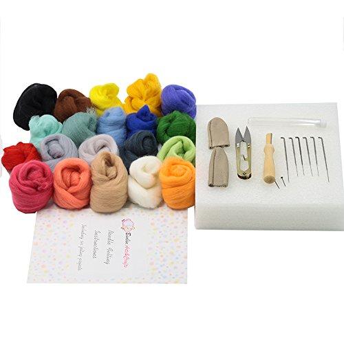 Wool Fibre Roving for Needle Felting Hand 6 Style Needle Felting Basic Kit in One Box with Instructions Needle Felting DIY Shitong