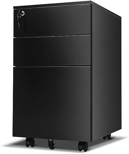 Locking File Cabinet Rolling Metal Filing Cabinet 3 Drawer Fully Assembled Office Pedestal Files Except Wheel Black C