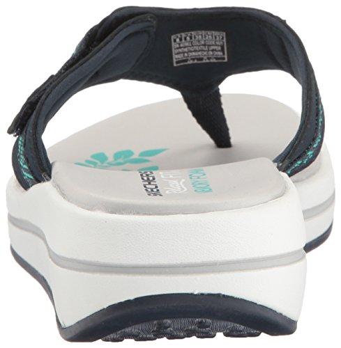 Mujer para Skechers marino Azul Blanco Chanclas EE0WqFAw