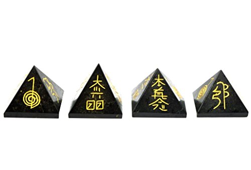 1 pc Natural Gemstone Black Touraline Reiki Pyramid Hand Carved Pyramid 30-40mm Polished Reiki Engraved Symbol Pyramid Crystals Healing Individually Energy Charged Very Effective