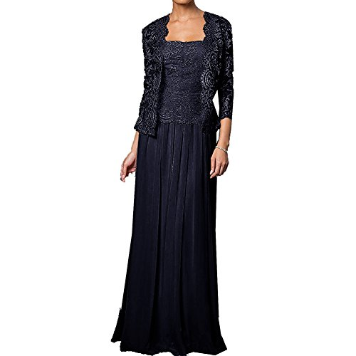 H.S.D Mother of The Bride Dress Long Formal Gowns with Jacket Navy Blue 26W