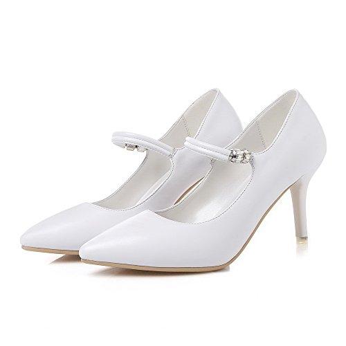 VogueZone009 Damen Hoher Absatz Rein Ziehen auf Weiches Material Spitz Zehe Pumps Schuhe Weiß