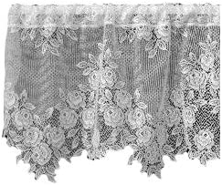 Heritage Lace Tea Rose 60-Inch Wide by 17-Inch Drop Valance, White