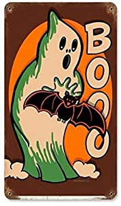 Halloween Pumpkin VINTAGE ENAMEL METAL TIN SIGN WALL PLAQUE 979495