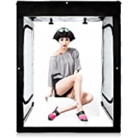 Professional Photography LED Shooting Tent 47x39x79 Photo Studio Large Cube Light Box Kit with 3 Colors PVC Backdrops in Carry Bag