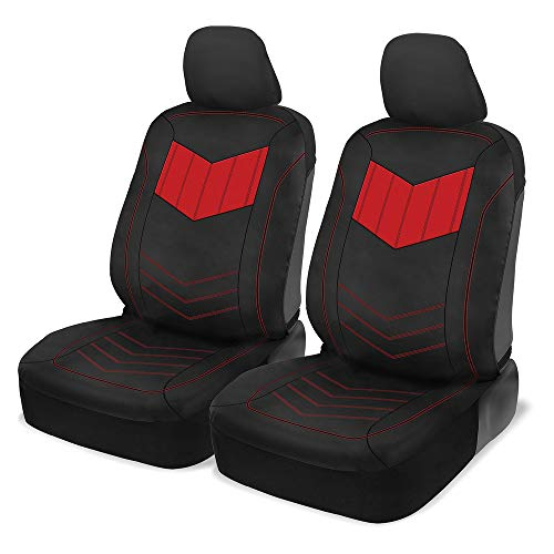 Motor Trend MTSC304 Red ComfortPlush PU Leather All Protection Sideless Seat Covers for Car Auto (Sedan Truck SUV Minivan) - Front 2pc