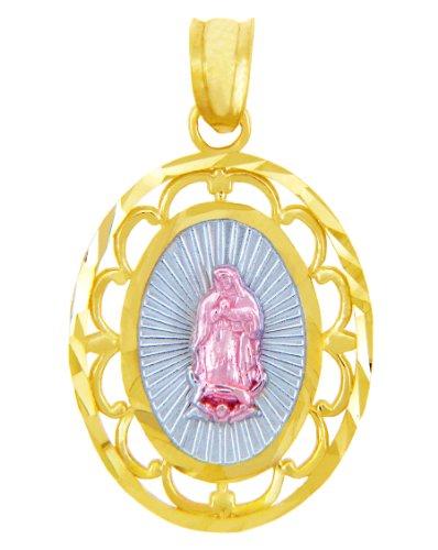 10 ct 471/1000 Or - Notre-Dame de Guadalupe Trois Couleurs Or Pendentif Collier (Livre Avec un 45 cm Chaine)