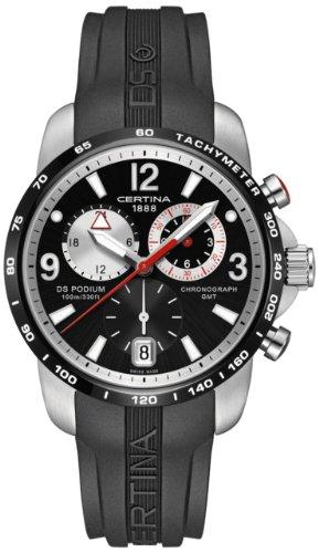 Certina DS Podium GMT Black and Silver Dial Black Rubber Mens Quartz Watch C0016392705700