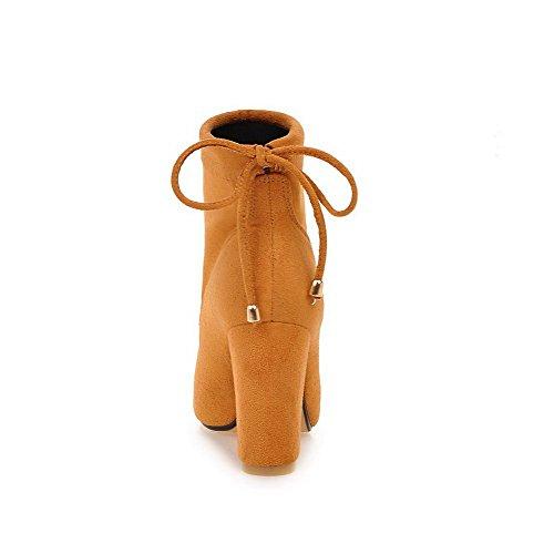 gamuza tacón cordones de mujer alta cordones de de con bajo imitación Amarillo con gamuza Botas Allhqfashion para Z5ncxYwUqn