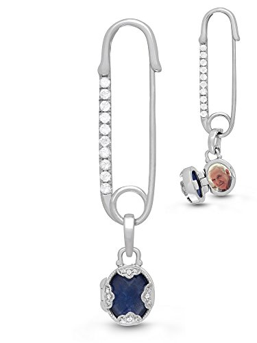 With You Lockets-Sterling Silver-Blue Lapis-Topaz-Custom Photo Locket-Bridal-Brooch-Wedding-Bouquet Pin-The Gloria by With You Lockets