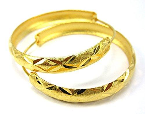 Hoops 3.5 CM 18k 22k 24k Thai Baht Yellow Gold Plated Filled Earrings ()