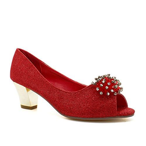 Chaton Diamante Partie Cour Toes De De Femmes Dames Mariée Rouge Talon Chaussures Peep La Mariage tfw54fq