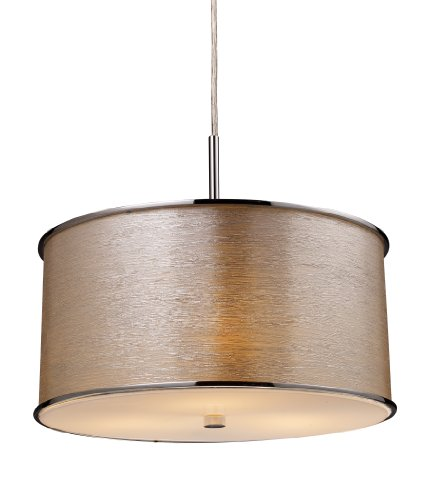 Elk 20043/3 Fabrique 3-Light Drum Pendant In Polished Chrome and Silver Streak Shade Collection Polished Silver Fixture