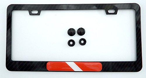 Diver Diving Flag Black Carbon Fiber Look Metal Car License Plate Frame Holder