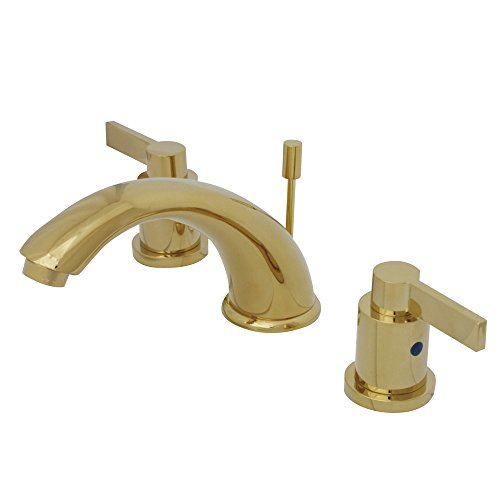 Kingston Brass KB8962NDL 5-3/4-Inch in Spout Reach NuvoFusion C Spout Widespread Lavatory Faucet with Brass Pop-Up, Polished ()