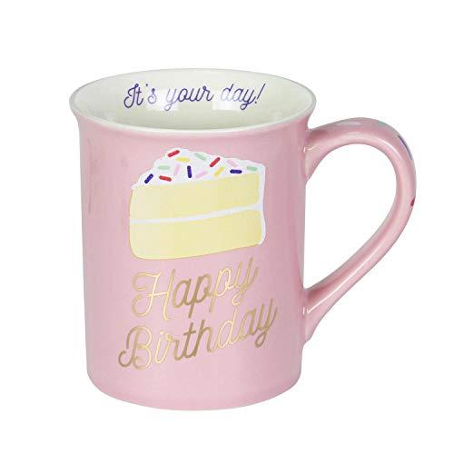 Enesco 6003669 Our Name is Mud Happy Birthday Cake Glitter Coffee Mug, 16 Ounce, Pink (Birthday Mugs)