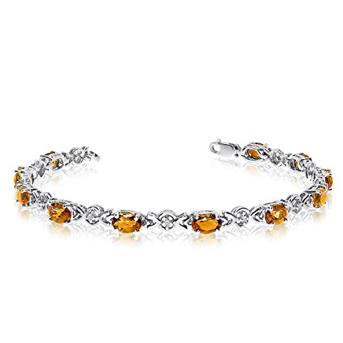 (3.41 Carat (ctw) 10k White Gold Oval Yellow Citrine and Diamond Tennis Bracelet - 7