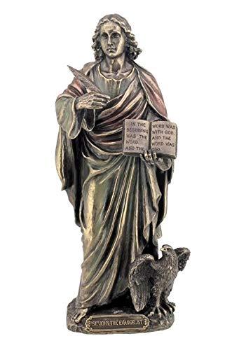 XoticBrands St John The Evangelist (Mbz+Color) - Religious - Cold Cast Bronze Sculpture ()