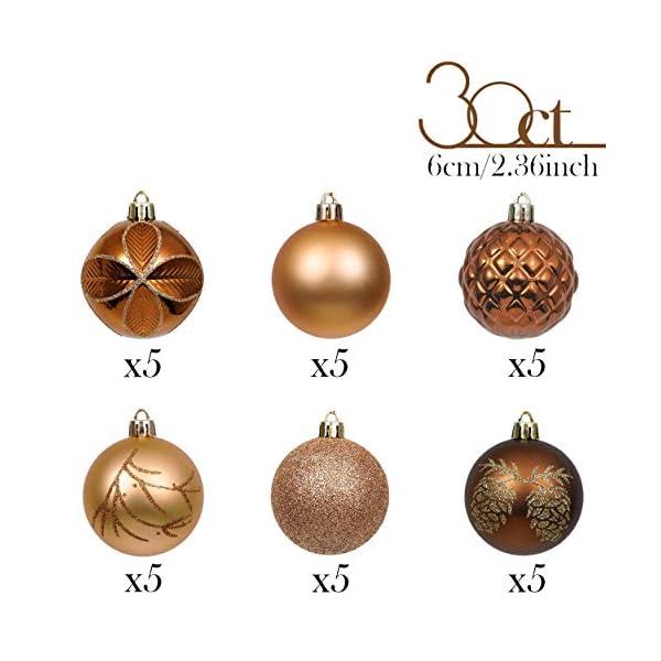 Valery Madelyn Palle di Natale 30 Pezzi 6cm Palline di Natale, Rame da Bosco e Oro Infrangibile Ornamenti Palla di Natale Decorazione per Albero di Natale Decor 3 spesavip