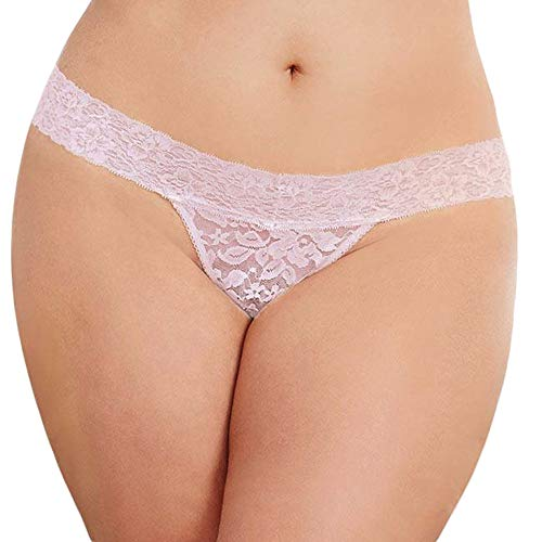 ,Women's Exotic Lingerie Sets,Sexy Lace Flowers Low Waist Underwear Panties G-String,Pink,S