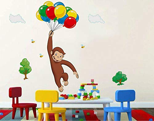 (Curious George 3D Window View Decal Graphic WALL STICKER Art Mural 18