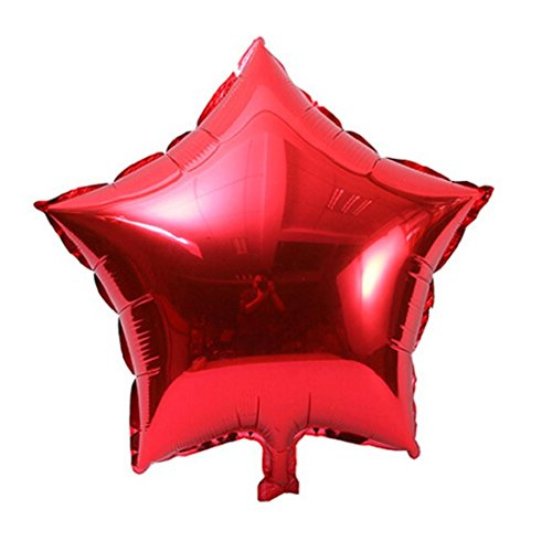 Christmas Foil Star (Tuscom 5 pcs 18 inch Foil Star Balloon Helium Metallic Birthday Summer outdoor Party Christmas Wedding Decor, (Red))