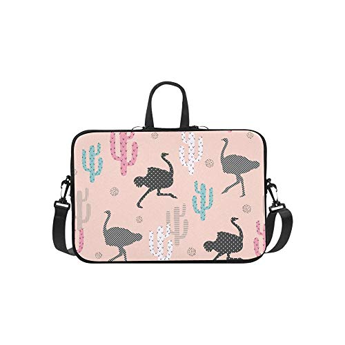 Ostrich and Cactus On Pink Background Pattern Briefcase Laptop Bag Messenger Shoulder Work Bag Crossbody Handbag for Business Travelling