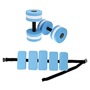 Dovewill Water Aerobics Kit Aquatic Dumbbells Swim Belt Aqua Jogging Fitness Kit Pool Exercise Hydrotherapy