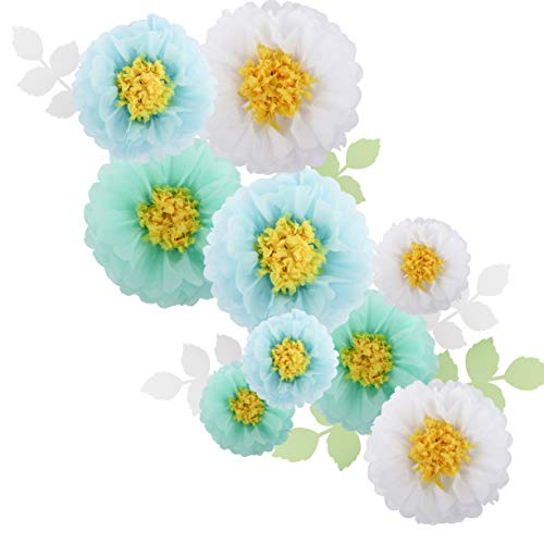 Fonder Mols Large Tissue Paper Chrysanth Flowers (Set of 18, White Mint Baby Blue) for Wedding Backdrop Nursery Bridal Shower Baby Shower Archway Decorations -