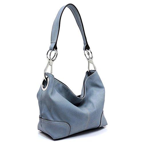 Soft vegan faux leather bucket shoulder handbag with detachable cross body shoulder strap (PALE BLUE)