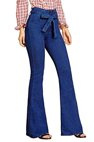 FEESON Women's Fashion Belt Tied Wide Leg Slim Fit Stretch Bootcut Jeans Dark Blue