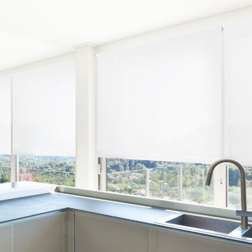 casa pura® Sichtschutzrollo - lichtdurchlässig - in neun Größen   Weiß   100x150cm
