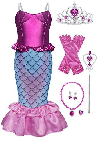 Pink Girl Costume (Jurebecia Little Girl Mermaid Princess Costume Sequins Party Dress Halloween Dress up Outfit Pink Size)