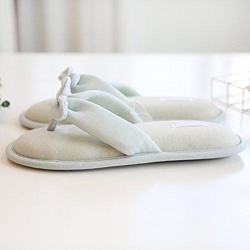 Womens Cozy Lurex Cotton Memory Foam Flip Flops House Slippers w/ Bow Accent Slippers Green wOmtlSJcME