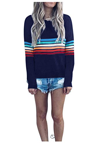 - Women's Rainbow Colorful Stripes Top Casual Long Sleeve Color Block T Shirt 2XL
