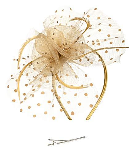 (Fascinators Hat for Women Tea Party Headband Kentucky Derby Wedding Cocktail Flower Mesh Feathers Hair Clip)