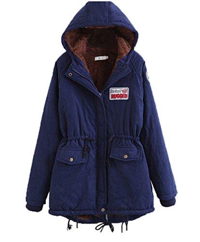 Warm Bigood Winter Parka Long Sleeve Navy Hooded Jacket blue Outwear Women Coat qRRrEf