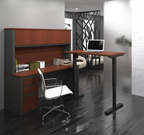 Bestar Prestige + L-Desk with Hutch Including Electric Height Adjustable Table, Bordeaux/Graphite ()